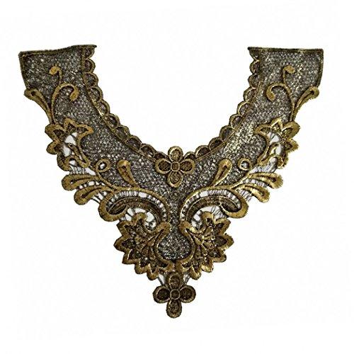 (1pcs Craft Golden Collar Venise Floral Embroidered Applique Trim Decorated Lace)