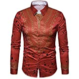 Meetloveyou 3d printed shirts fashion NEW mens shirts long chemise homme casual camiseta masculina hip hop shirt,Asian size 403 red M