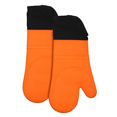 Extra-Long Professional Grilling Gloves, 14.7  Heat Resistant Gloves BBQ Kitchen Silicone Oven Mitts, Waterproof Non-Slip Potholder for Barbecue, Cooking, Baking -1 Pair (Orange)