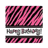 Hot Pink Zebra Stripe Square Happy Birthday 7″ Cake/Dessert Plates (8 ct), Health Care Stuffs