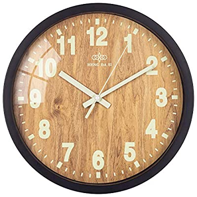 BEW Luminous Wall Clocks, Classic Numbers Glow-in-Dark, Light Wooden Face with Glass Frame, Silent Decorative Night Clock for Living Room, Dining Room, Kids Bedroom, Kitchen, 12 Inch -  - wall-clocks, living-room-decor, living-room - 512QKZmrWaL. SS400  -