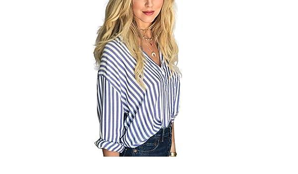 Camisa de rayas azules y blancas para mujer Camisa de manga larga Blusa de jersey de manga larga: Amazon.es: Ropa y accesorios