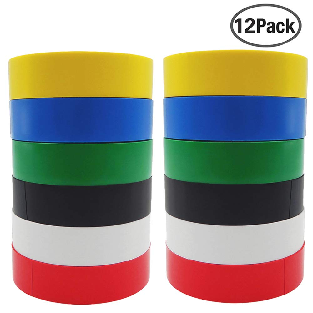 Insulation Tape 12 Pack Coloured Electrical Adhesive PVC Tape SACONELL