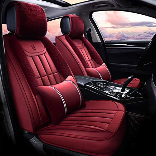 - FLY5D Winter Car Seat Cushion,Excellent Full Set and Full Surround,Warm Soft Comfortable and Durable,Easy to Install,Fit for 5-seat (Burgundy)