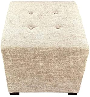 product image for MJL Furniture Designs Merton Collection, Fabric Upholstered Modern Cube Foot Rest Ottoman with 4 Button Tufting, Atlas Series, Sterling