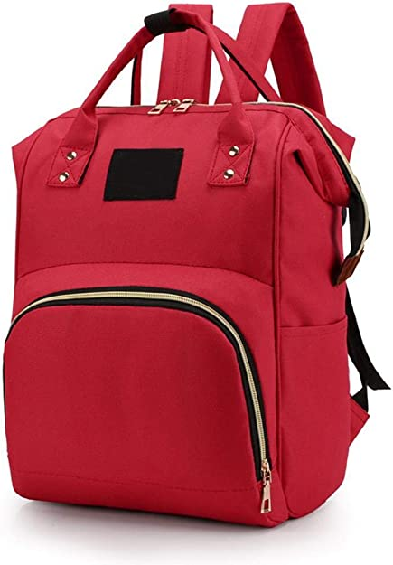 Fasetry Women Casual Solid Double Zippers Large Capacity Backpack Mummy Bag Nappy Backpacks