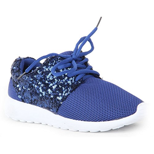Blue Sport Pump Shoe London Ladies Gym Sequin Glitter Sneakers 1990 Girls Women Trainer Running Light 6qxAg