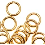 22K Gold Plated Open 6mm Jump Rings 18 Gauge (50)