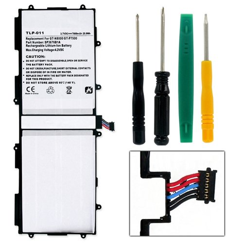Samsung P7500 Tablet Battery TLP-011 Li-Pol Battery - Rechargable Ultra High Capacity (Li-Pol 3.7V 7000 mAh) - Replacement For Samsung SP3676B1A Tablet Battery - Installation Tools Included