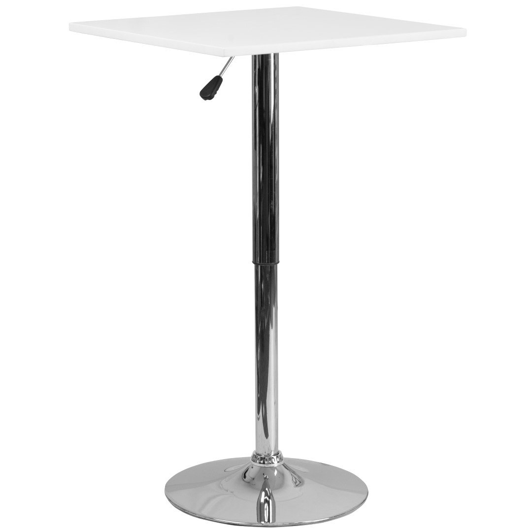 MFO 23.75'' Square Adjustable Height White Wood Table (Adjustable Range 33'' - 40.5'') by My Friendly Office