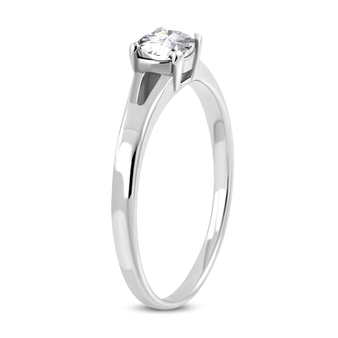 Stainless Steel Prong-Set Circle Engagement Ring with Clear CZ