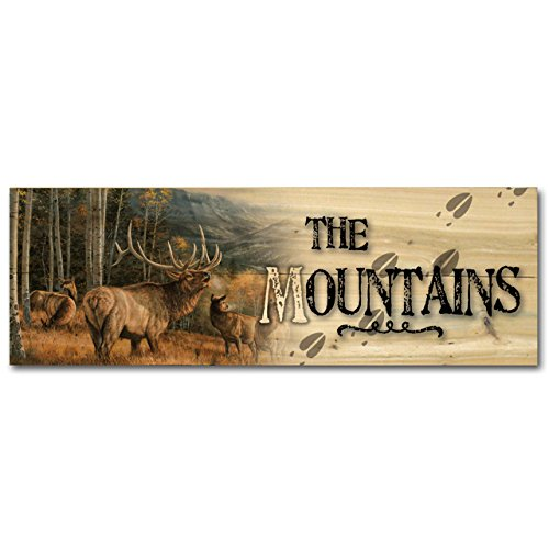 (WGI-GALLERY 248 The Mountains Meadow Music Elk Wooden Wall Art)