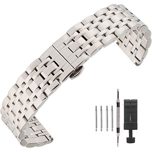 Weelovee Polished Stainless Steel Solid Link Watch Band 12mm/14mm/16mm/18mm/20mm/22mm/24mm,Butterfly Buckle Bracelet Strap Replacement for Samsung Gear Silver,Repair Tools Included