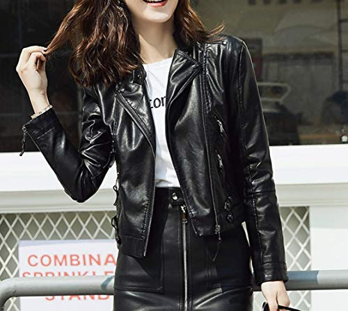 Slim Noir Veste SED L Locomotive Short Revers Veste Automne et Printemps Femmes Mme PU Fashion cBqSHO
