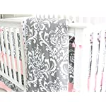 7-Pieces-Set-Ruffle-Grey-Pink-Floral-Baby-Crib-Nursery-Bedding-Set-Ruffle-Sheet