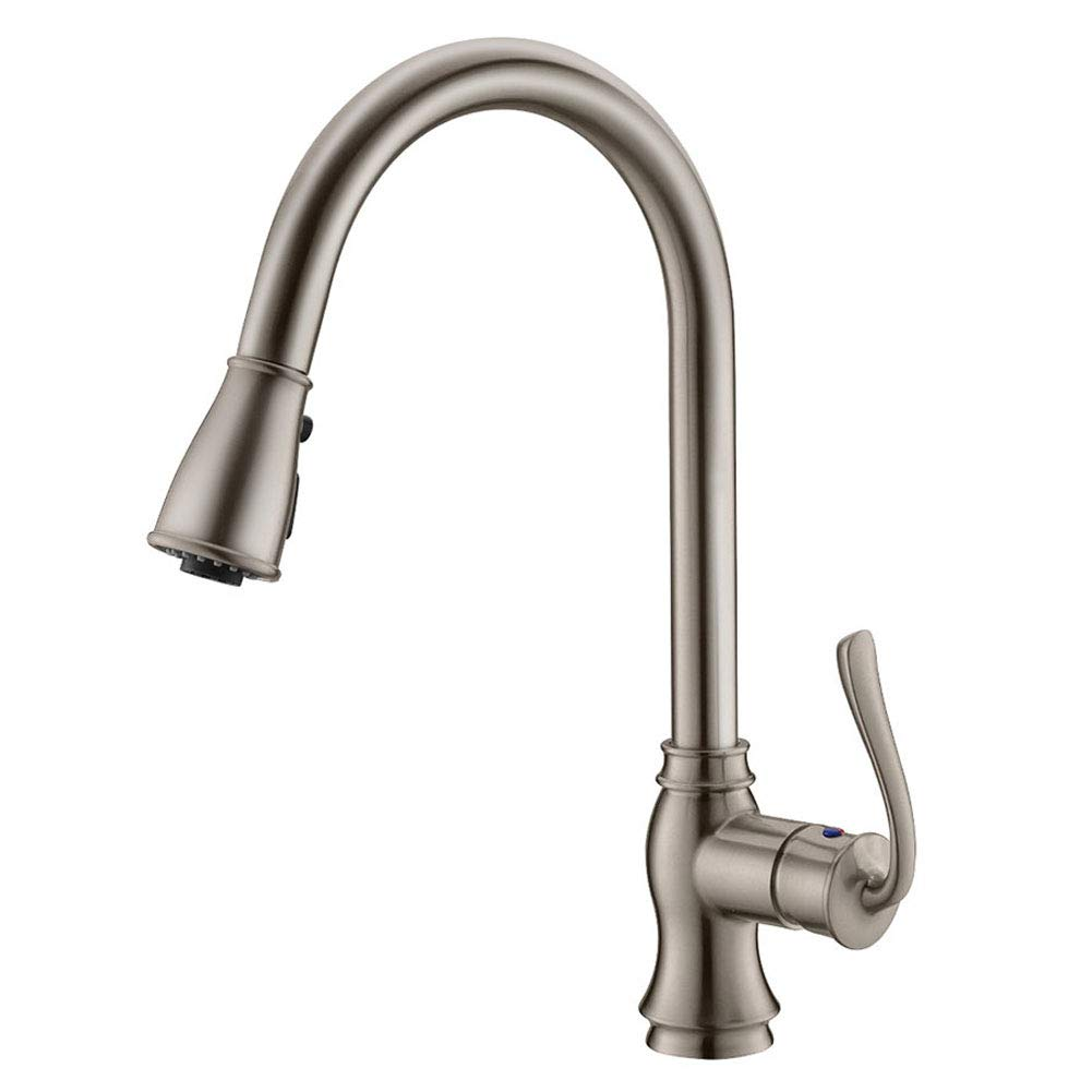 APPASO K127-BN Pull Down Kitchen Faucet with 3-Function Sprayer, Single Handle High Arc Kitchen Sink Faucet with Sweep Sprayer, Stainless Steel Brushed Nickel