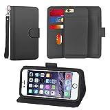 UrSpeedtekLive iPhone 6 Plus/6S Plus Detachable Wallet Case, Premium Vegan Leather Folio Flip Kickstand Case Cover with Card Slot, Wrist Strap, Magnetic Closure For Apple iPhone 6 Plus/6S Plus,Black