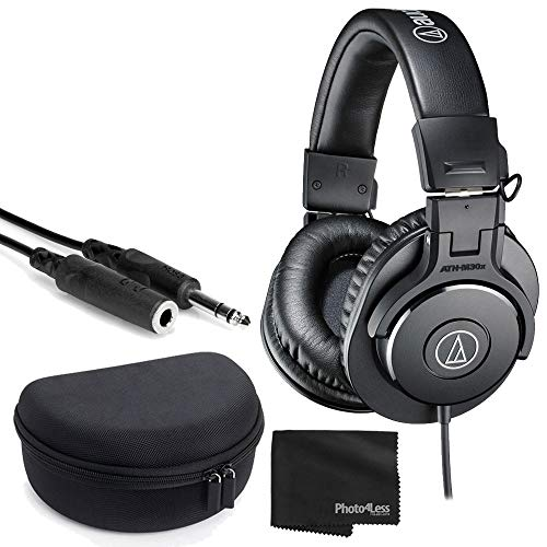 Audio-Technica ATH-M30x Closed-Back Monitor Headphones (Black) + Headphone Case + 1/4 inch TRS Extension Cable + Cloth – Deluxe Headphone Bundle