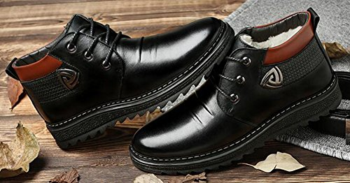 IDIFU Mens Warm Flat Faux Fur Lined Thick Ankle High Snow Boots Lace Up Winter Shoes Black gCdLJYvFT