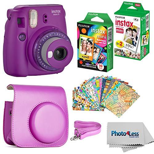 Fujifilm Instax Mini 9 Instant Camera (Purple) – Fujifilm Instax Mini Instant Film, Twin Pack – Fujifilm Instax Mini Rainbow Film – Case for Fuji Mini Camera – Fuji Instax Accessory Bundle
