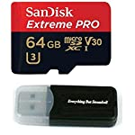 Sandisk 64GB 4326596692 Extreme Pro 4K Memory Card works with DJI Mavic Pro, Spark, Phantom 4, Phantom 3 Quadcopter 4K UHD Camera Drone - UHS-1 V30 64G Micro SDXC with Everything But Stromboli Reader 5 UHS Speed Class Video 30 (V30) 2 means that your card is ready for forays into virtual reality and 360 ° video record. In addition, it provides UHS Speed Class 3 (U3) to receive Full HD and 4K UHD videos Extreme speed for your smartphone or tablet with up to 100MB / s Supports UHS-I for the next generation of mobile devices. Compatible with DJI Mavic Pro, Spark, Phantom 4, Phantom 3 Advanced, Standard, Professional Quadcopters