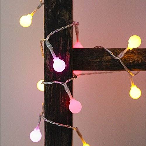 Kikkerland (2 Pack 14ft Multicolor Pastel LED Indoor String Lights with 40 LED Light Bulbs Each, 80 Total, Battery Operated String Lights for Wedding Decorations, Easter Decorations, Party Supplies