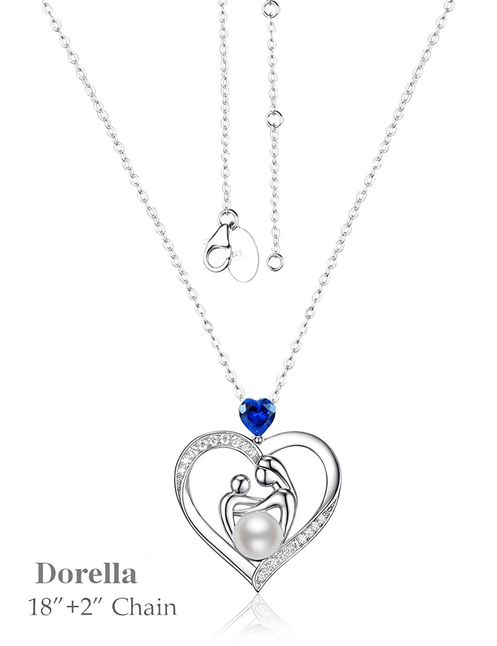 September Birthstone LC Blue Sapphire Necklace Birthday Gifts for Mom Women Sterling Silver White Pearl Love Heart Mother Child Jewelry 20 Chain