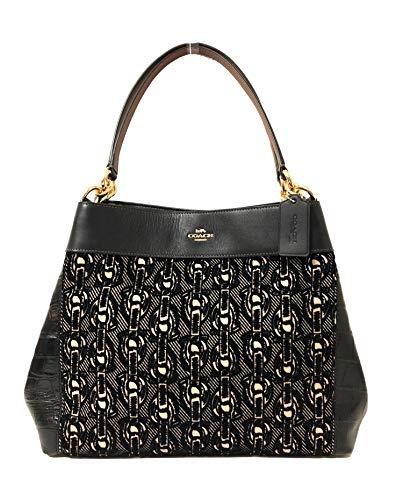 Black Pebble Leather - Coach F57545 Lexy Pebble Leather Shoulder Bag (IM/Black)