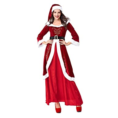 85ae9d0c002 Amazon.com  Winsummer Womens Plus Size Sexy Santas Elf Costume Deluxe Adult  Christmas Holiday Party Cosplay Promo Suit Role Play  Clothing