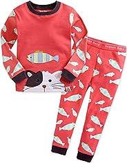 Vaenait Baby Girls Toddler Pajamas 100% Cotton Soft 12M-12 Long Sleeve Sleepwear