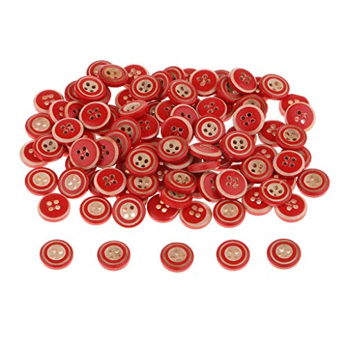 - MOPOLIS 100pcs Round 4 Holes Wooden Buttons Decorative Buttons DIY Crafts Supplies | Color - Red