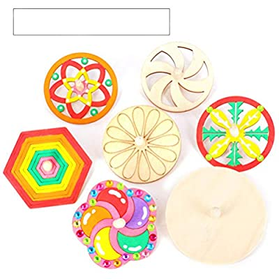 STOBOK 10pcs Unfinished Spinning Tops Natural Wood Blank Hollow Gyro Gyroscope DIY Painting Toy for Kid Children (Random Style): Toys & Games