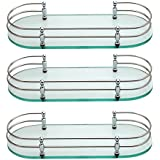 Joyo Cera Front Glass Shelf - Bathroom Clear Front Glass Shelves (Chrome Finish) and Barss Bracket (12x6) (3 Pieces) Modal Number Joyo Cera 1555509