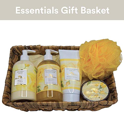 Camille Glycerine French Vanilla (Camille Beckman Essentials Gift Basket, French Vanilla, Glycerine Hand Therapy 6 oz, Silky Body Cream 13 oz, Hand and Shower Cleansing Gel 13 oz, Glycerine Soap 3.5 oz)