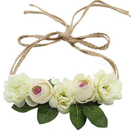 Bride Bohemian Flower Headband Party Floral Crown Headwear For Women Floral Garlands Adjustable Wedding Hair Wreaths beige