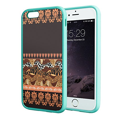 iPhone 6s Case, Capsule-Case Hybrid Slim Hard Back Shield Case with Fused TPU Edge Bumper (Teal Green) for iPhone 6s / iPhone 6 - (Animal Pattern)