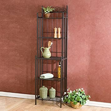 Metal Grey Baker s Rack Plant Stand Kitchen or Dining Room Furniture with 5 Shelves and Storage Beautiful Design Display and Organizer Freestanding Fits Nicely in a Corner or Home Office or Entryway Style Is Traditional Contemporary