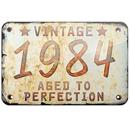 NEONBLOND Cartel de metal vintage año 1984, nacido/hecho ...