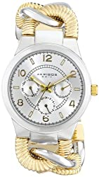 Akribos XXIV Women's AK721TTG Ultimate Multifunction Two-tone Twist Chain Bracelet Watch