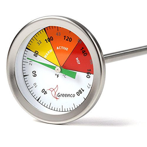 Compost Soil Thermometer by Greenco, Stainless Steel, Celsius and Fahrenheit Temperature Dial, 20 inch Stem (Dial Temperature)