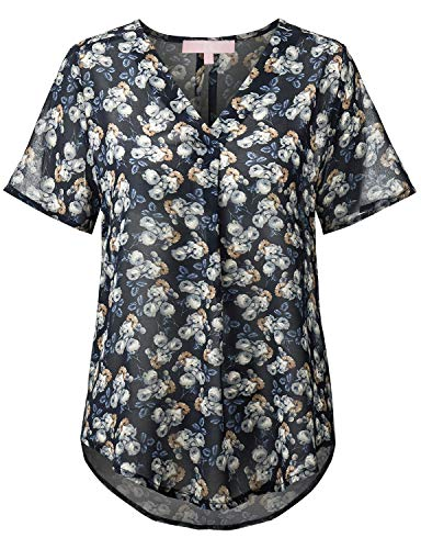 Regna X Boho Tops Short Sleeve Dressy Loose Blouses for Women Navy Floral S