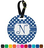 Polka Dots Round Luggage Tag (Personalized)