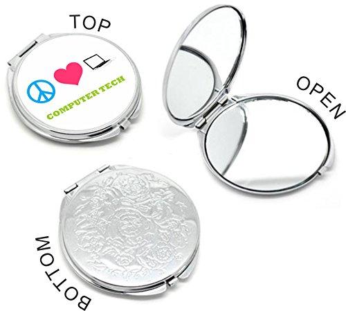 Rikki KnightTM Peace Love Computer Tech Design Round Compact Mirror