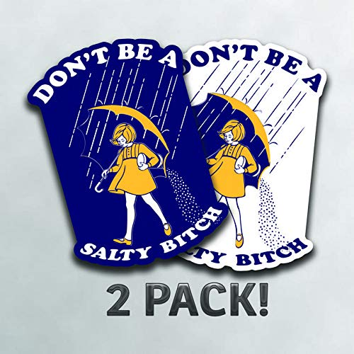 More Shiz Don't Be A Salty Bitch (2 Pack) Vinyl Decal Sticker - Car Truck Van SUV Window Wall Cup Laptop - Two 5 Inch Decals - MKS0996