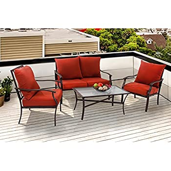 PHI VILLA Patio 4 PC Padded Conversation Set Coffee Table Sets Cushioned  Outdoor Furniture, Red