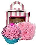 Happy Birthday Bath Bomb Cupcake with Pink Loofah Bath Pouf In Cupcake Gift Box (Tropicana Cake)