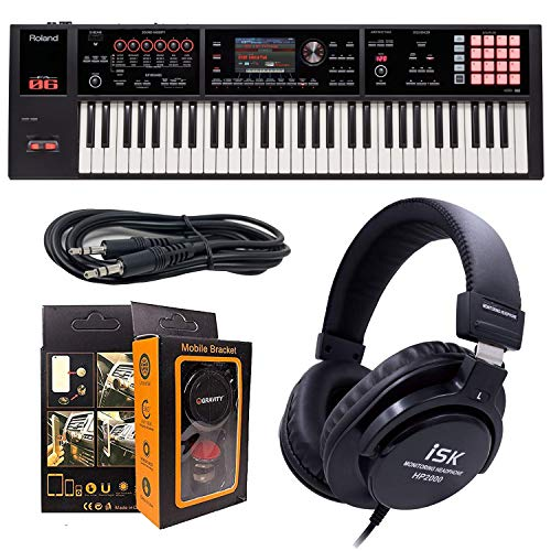 Roland PK 61-key Music Workstation FA-06 + ISK HP2000 Headphone w/Free 3.5mm AUX Cable & Magnet Car Mount