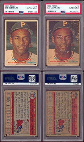 1957 Topps Regular (Baseball) Card# 76 Roberto Bob Clemente (psa) of the Pittsburgh Pirates Fair -