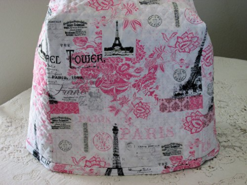 KitchenAid Mixer Cover, Pink, Black & White Paris Design, Reversible Quilted, Kitchen Appliance Dust Cover, Size and Pocket Options