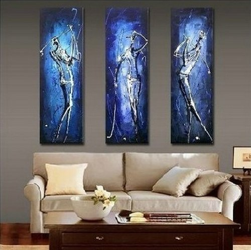 Hand Painted Beautiful Stretched/ Framed Modern Home Wall Decoration Art Canvas Oil Painting, Golf Player Abstract Canvas Oil Painting by Generic